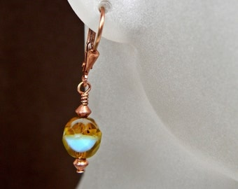 Turquoise Glass Lever Back Copper Earrings -Short - Dangle - Anniversary - Blue - Brown - Under 20 Dollars - Easy to Clean