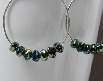 Colorful Metalic Embellished Silver Hoop Earrings Handcrafted -- Anniversary - Gift - Beaded - Under 25 Dollars