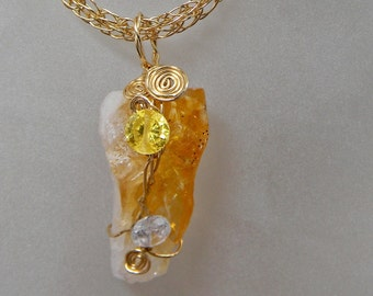 Citrine Crystal And  Zirconia Pendant On Viking Knit Chain Necklace - Gemstone - Druzy - Mineral - Wire Wrapped