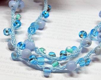 Kumihimo Hand Braided ID Lanyard - Light And Airy - Sky Blue - Gift -Teacher - Nurse