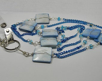 Mother Of Pearl Blue ID Lanyard - Wire Wrapped - Gift -Teacher - Nurse