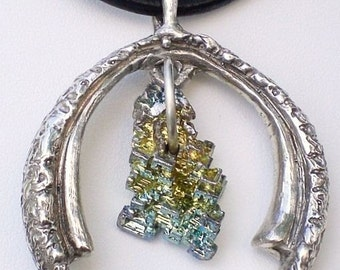 Bismuth Crystal and Sterling Horseshoe Pendant Necklace - Handmade - Hand carved - Lucky Charm - Anniversary - upside down