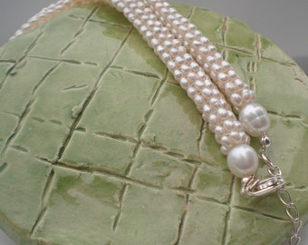 Tubular Natural Pearls Necklace In White - Birthday - Anniversary - Work Jewelry for women