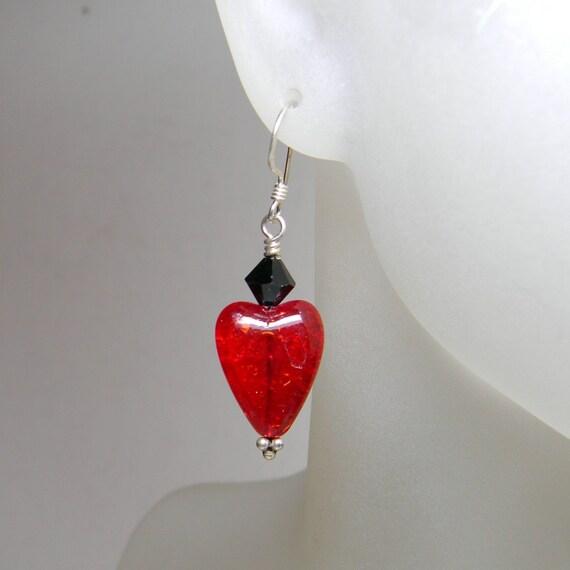 Red Heart Earrings Glass - Girls - Women - Under 20 Dollars