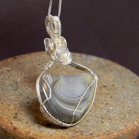 Hand Made Botswana Agate Wire Wrapped Pendant - Gift - Birthstone - Anniversary - Mineral - Gemstone