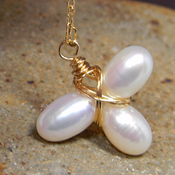 Artisan Dainty Pearl Clover Pendant With Chain Gold Filled - Gift - Anniversary - Birthday - Under 25 Dollars