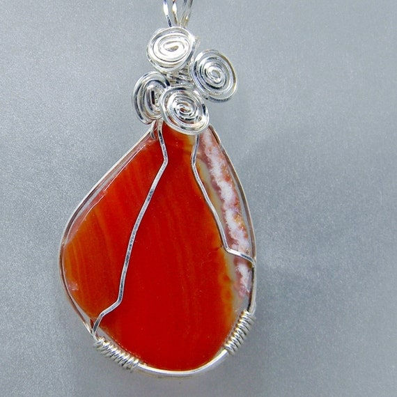 Wire Wrapped Agate Slice Handcrafted Pendant Necklace - Gemstone - Anniversary - Birthstone - Gift - Mineral