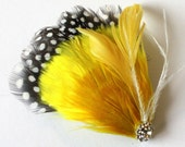 Francine - Yellow Feather Fascinator Hair Clip