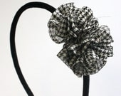 Kate - Black and White Hounds Tooth Ruffle Headband