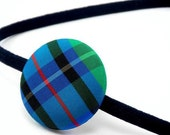 SHOP CLOSING SALE - CHECKS TO GO Fabric Covered Button Headband - STORE CLOSING SALE - WAS 6 NOW 5