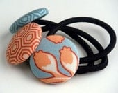 SALE - CORAL BEACH  Fabric Covered Button Ponytail Holders - STORE CLOSING SALE - WAS 7 NOW 5.50