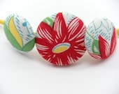 SHOP CLOSING SALE - EXPLOSION Fabric Covered Button Elastic Headband - STORE CLOSING SALE - WAS 6 NOW 5
