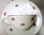 china coffee cup and saucer business card holder,,with the sweetest roses