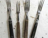 Group of 4 Antique Wood and Pewter Camping or Hunter's Forks