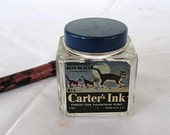 Vintage 1950 Carter's Midnight Blue Black Advertising Ink Bottle with Label, Cat, Kittens on Fence, Moon