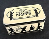 Vintage 1931 Kemp's Step Ahead Nuts Advertising Tin, Black and White w Silhouette Marching Band