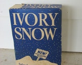 Vintage 1930 Unopened Box of Ivory Snow Soap Powder for the Laundry Room, Blue and White