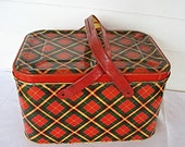 1950's Tin Picnic Basket Storage Tin Box  Container Red Green Yellow Plaid Double Handles - kelleystreetvintage