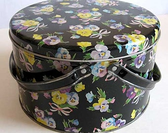 Vintage 1950  Double Handle Tin Box, Catchall, Lunch Box, Storage, Sewing,  Button Box, Pansy Flowers with Bows on Black Background