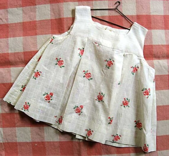 Vintage 1930's Little Girl or Large Doll Floral Print Pleated Dress, Handmade