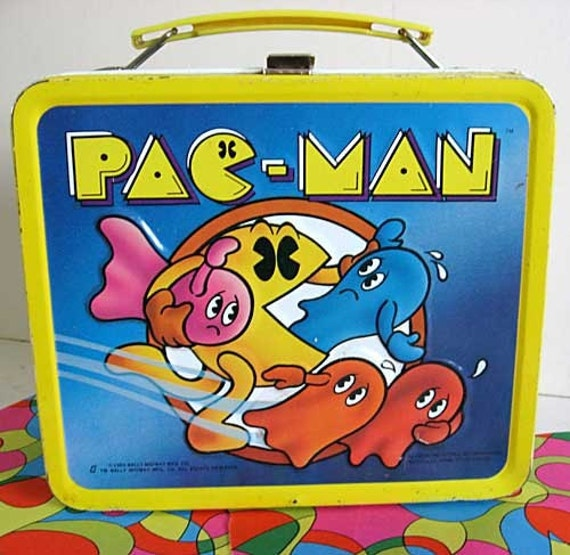 1980 Pac Man School Lunch Box with Thermos