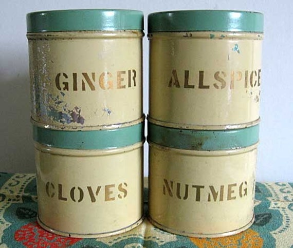 Group of 4 vintage 1930 39 s kitchen spice tins in jadeite for Retro kitchen set of 6 spice tins