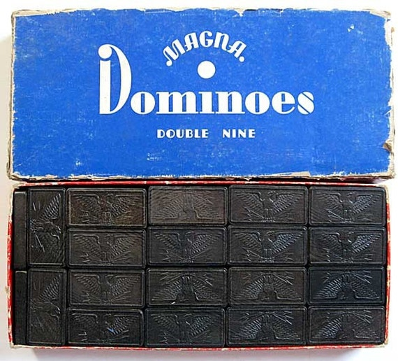 Set 1920 Vintage Magna Double Nine Dominoes In Original Box
