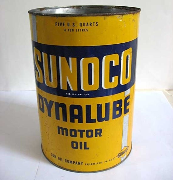 Vintage 1946 sunoco motor oil large advertising tin for waste for Who picks up used motor oil