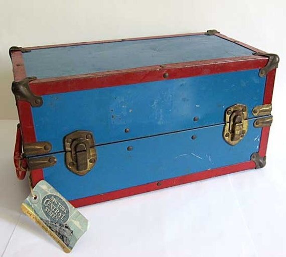 ... Size Bright Blue and Red Tin Steamer Trunk for Doll Clothes, Storage