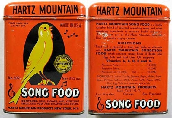 Cute and Colorful Hartz Mountain Bird Song Food Tin c 1950 Canary Singing