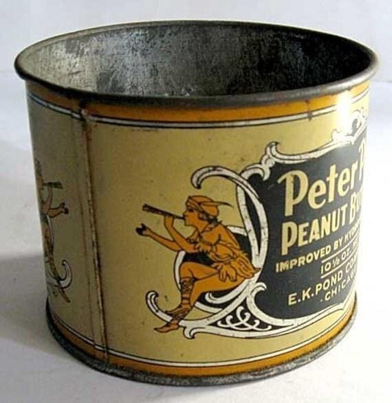 Vintage 1920's Peter Pan Peanut Butter Advertising Tin with Peter Pan Figures