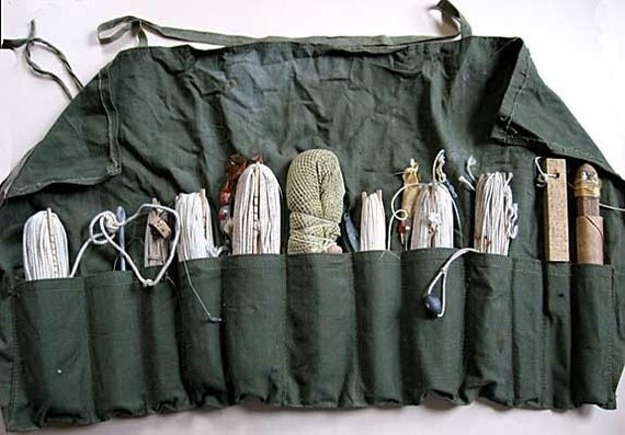 Vintage Fishing Gear Canvas 12 Pocket Apron Full Of Fishing