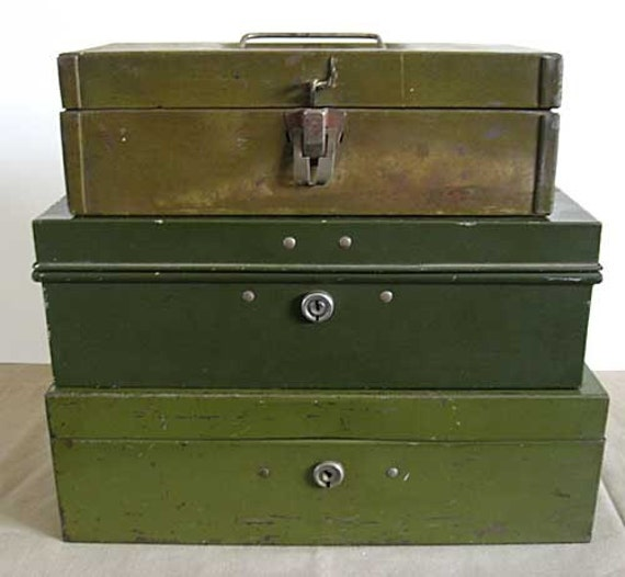Stack of 3 Vintage Khaki Green Metal Tool, Supply, Document Boxes, 1930's