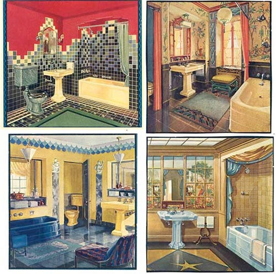 set of 4 vintage 1920s art deco bathrooms illustrations prints for framing fixtures tiles