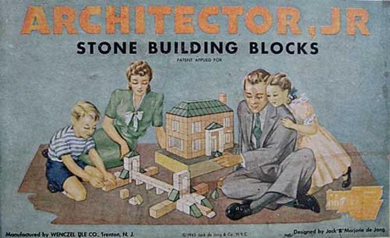 Set 1945 Architector Jr. Stone Building Blocks in Box, Wenczel Tile Co, DeJong Design NYC, Architecture