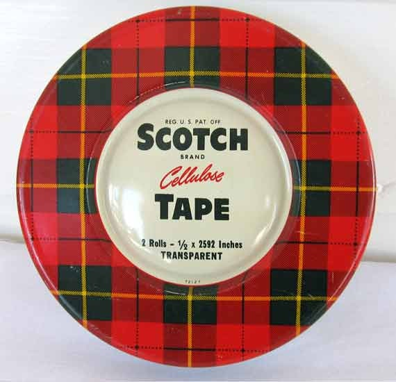 1950's Vintage Scotch Cellulose Tape Tin Box for Smalls, Red and Black Plaid