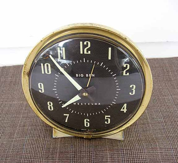 Vintage 1960's Big Ben Westclox Wind Up Alarm Clock, Metal, Working, Black Face, Cream Case