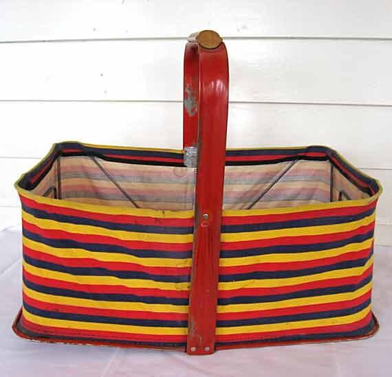 Vintage 1950 Fold Away Basket Co Red, Yellow, Blue Stripe Fabric, Red Metal Folding Market Basket