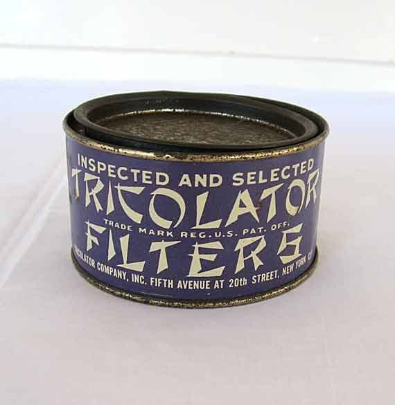Vintage 1940's Tricoloator Filters Advertising Tin in Blue and White, Coffee Filters Tin, Typography