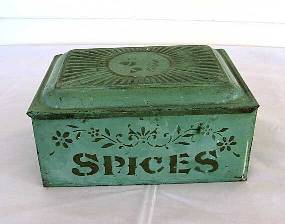 Antique Victorian 1890 S Tin Spices Box In Original Mint