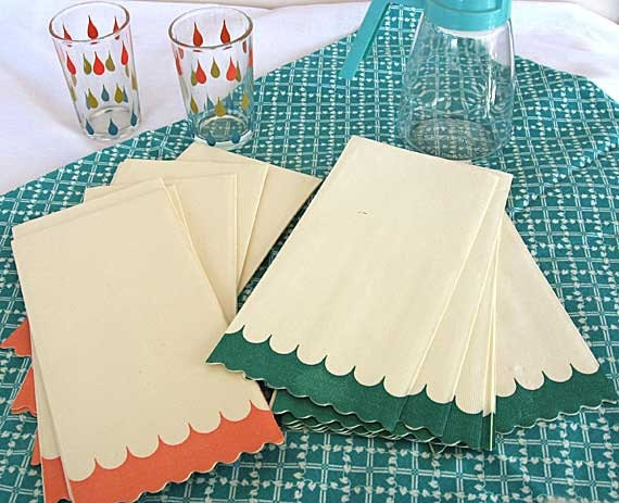 Set of 16 Vintage 1950's Paper Guest Towels, Napkins, w Teal and Peach, Fun Fifties Event Paper
