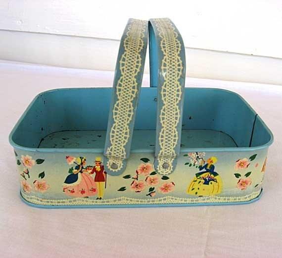 1950 Vintage Lithographed Tin Double Handle Little Carry Basket, Women, Flowers, Lace Scenes