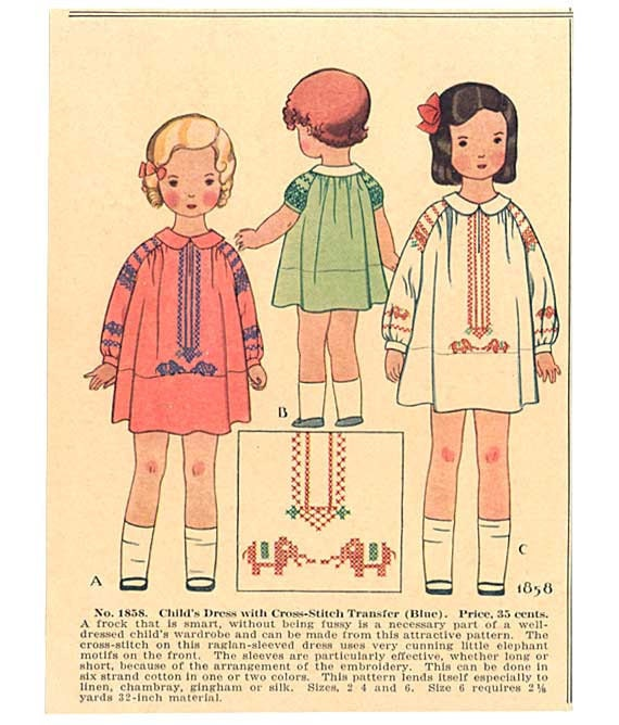 Pair of Vintage 1930's Little Girls in their Smocked Dresses Illustration, Prints