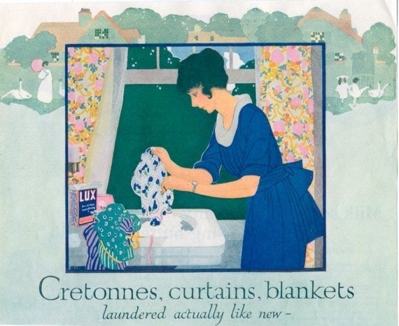 Vintage 1920's Woman Hand Laundering at Sink with Lux Soap Illustration, Print
