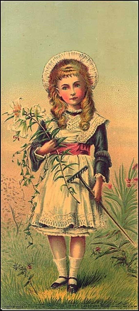Sweet Victorian 1880 Child Gardener Chromolithograph