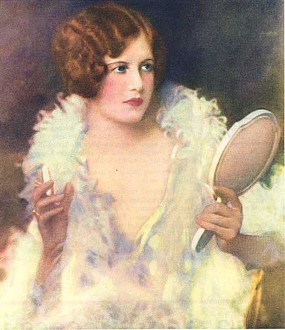1920 S Woman In Feather Boa Primping With Hand Mirror