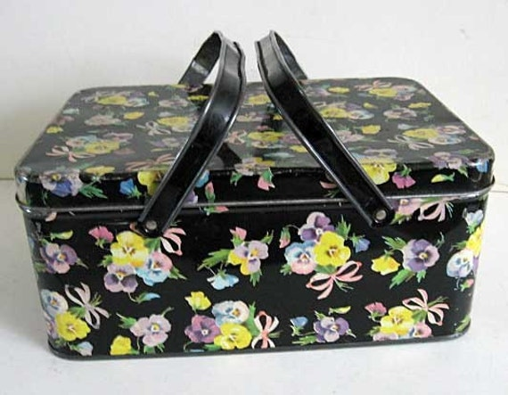 Vintage Tin Lunch Box Storage Container Pansy Flowers On Black