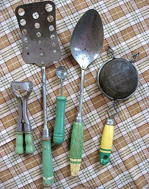 Group Of 5 Vintage Kitchen Utensils Tools With Jade Green