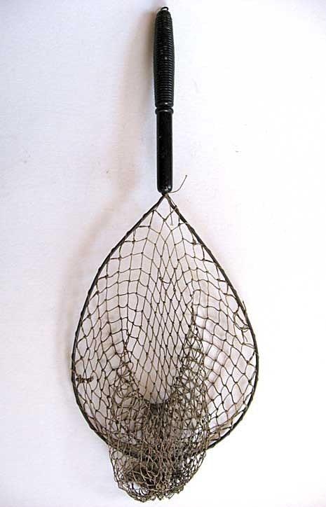 Vintage 1950 39 s wooden handled fishing net for Wooden fishing net