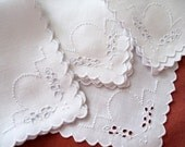 White Eyelets Vintage Linen Napkins Embroidered French Knots